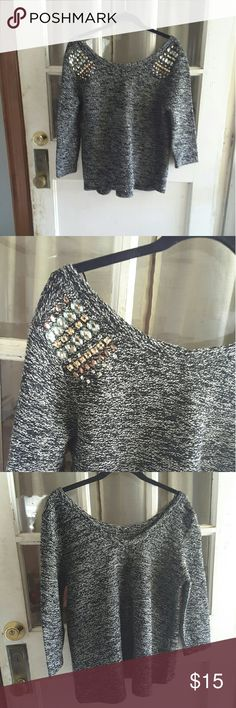 Suiteblanco tricot Black and white knit sweater bedazzled detail on the shoulder Lowder in the back  3/4 sleeve 19 inches from armpit to armpit 22.5 inches from shoulder to bottom of shirt suiteblanco tricot Sweaters Crew & Scoop Necks