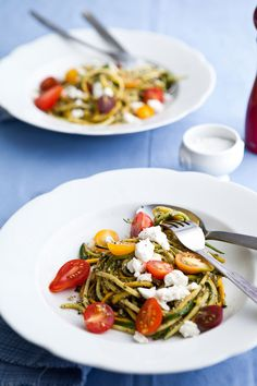 Summer squash pasta with cherry tomatoes and pesto