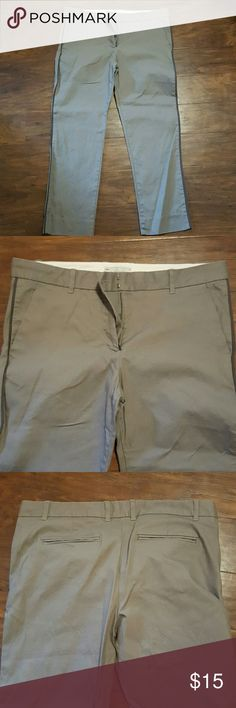 """Gap True Straight Pants Gray, true straight pants, front pockets, gray striped detail down the leg, stretch, very comfortable. Size 10 Ankle. Pants hit my ankles, not the top of my feet. 26"""" inseam. Gap Pants Ankle & Cropped"""