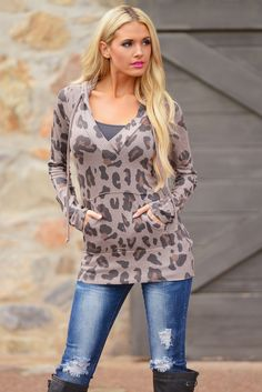 Turning Heads Hoodie - Leopard Brown from Closet Candy Boutique