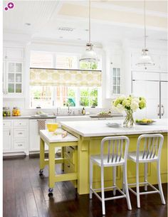 "yellow kitchen island - We LOVE this color pop. Can you image it in Amy Howard One Step ""Holey Moley""?"