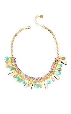 Spring has sprung and it's time for some new additions to your jewelry box. The Spring Bound Necklace is a gold necklace with thread wrap, multi-colored beads and cowrie shells. Yoga Jewelry, Jewelry Shop, Best Jewellery Online, Lilly Pulitzer Prints, Lily Pulitzer, Resort Wear For Women, Best Gifts For Her, Turquoise Necklace, Gold Necklace