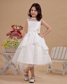Cute Scoop-Neckline Sleeveless Tea-Length Flower Girl Dresses