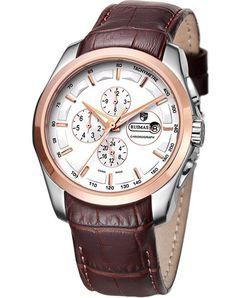 89aea7ed85d1 Los hombres de la cara Ruimas Relojes de oro rosa de moda reloj de pulsera  automático con un pedazo de cuero Strsap  Amazon.es  Relojes