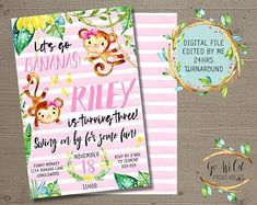 Printable Party Invitations and Printable Decorations by GoWildPrintables Digital Invitations, Birthday Invitations, Monkey Birthday, Party Printables, Rsvp, Etsy Seller, Etsy Shop, Handmade Gifts, Fun