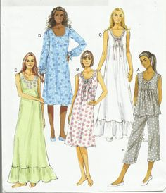 Romantic Nightgown and Pajama Pattern Misses Size by lasavonfemme, $6.95