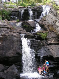 Kids playing in the waterfall  Devil's Hopyard State Park  East Haddam, CT