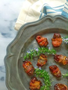 Pancetta Wrapped Dates. A two-ingredient, so easy appetizer. Mom's Kitchen Handbook