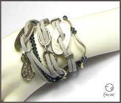 Gray Arm Party Set - crystal, suede, silver plated cat on Etsy, 243,58kr
