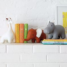 Menagerie Bookends - Giraffe, Elephant, Hippo.