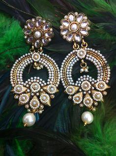 Designed Polki Pearl Earrings $ 44.99