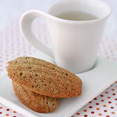 Traditional madeleines made with jasmine tea for a floral, sweet tea flavor