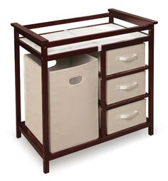 Cherry Modern Changing Table With Hamper Baskets - Baby Center
