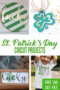 Celebrate St. Patrick's Day with these easy to make DIY Cricut Projects. Diy And Crafts Sewing, Diy Crafts For Kids, Craft Party, Diy Craft Projects, Party Printables, St Patricks Day, Cricut, Crafting, Easy