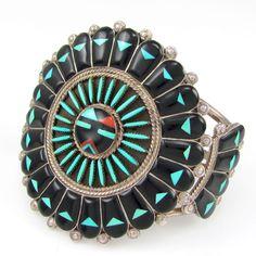 Zuni BENJI TZUNI Handmade Sterling Silver Mosaic Sunface Inlay Cuff Bracelet │ G