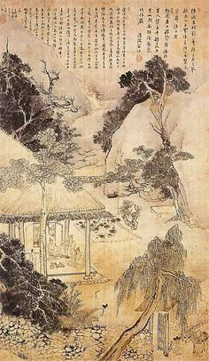 Kim Hongdo (1745–after 1806). Sandalwood Garden. 1784. Chosŏn dynasty. Hanging scroll; ink and light color on paper; h. 135 cm, w. 78.5 cm. Private collection, Korea.