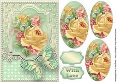 Roses, Lace and Butterflies - Mint