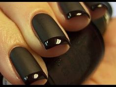 Matte black nails with glossy tips by CrystalNailBoutique on Etsy