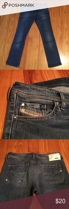 "Diesel Lowkey Stretch Jeans Diesel Lowkey Wash 008LA_Stretch. Originally 30-34, but got them professionally hemmed to fit me (5'4""). Small tear in one hem (pictured). Diesel Jeans Straight Leg"