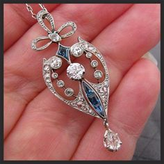 Antique Edwardian Platinum Diamond Sapphire Lavaliere Necklace from antiquejewelryexpo on Ruby Lane