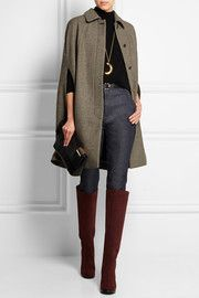 Arcadie wool-blend tweed cape