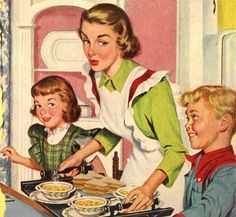 Vintage illustration, mom and kids with fresh baked pies - 1946