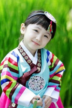 Little girl in traditional hanbok