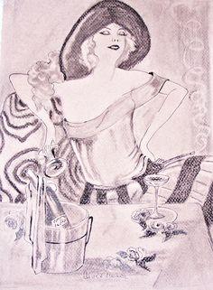 Pezsgőző hölgy. ( Faragó Géza után ) Ruffle Blouse, Posters, Paintings, Illustrations, Artists, Tops, Women, Fashion, Moda