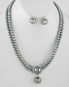"Silver Gray Faux Pearl Rhinestone Necklace Set Prom Bridal Wedding 18"" #Wedding"