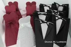 The Bride and Groom Favor Bags from LOVE ALWAYS SVG KIT are the perfect gift for the wedding party or shower. Diana also added a bridesmaid favor bag, what a great idea! These all look great! Diana made this lovely set in honor of Mary and Leo, owners of SVGCuts, who are getting married Sept. 20, 2013! A match made in heaven!! Love these guys!