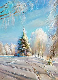Winter Painting - Winter Day by Roman Romanov Winter Landscape, Landscape Art, Landscape Paintings, Winter Szenen, Russian Landscape, Illustration Noel, Winter Painting, Painting Snow, Art Pictures