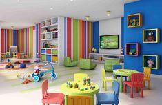 Pin By Amanda On Playroom In 2019 Office Playroom Daycare Childcare Rooms, Daycare Rooms, Kids Daycare, Home Daycare, Kindergarten Interior, Kindergarten Design, Design Maternelle, Preschool Set Up, Kids Church Rooms