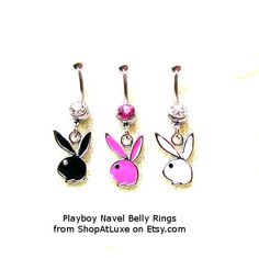 Playboy Bunny Dangling Navel Belly Ring by SHOPATLUXE on Etsy, $4.99