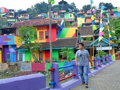 Rainbow Colored Village Indonesia.                     Gloucestershire Resource Centre http://www.grcltd.org/scrapstore/