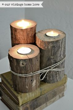 """DIY. From website: """"To add a little bit of rustic, I made some tea light holders with logs from the back yard.  I simply chiseled the bark off and drilled a hold in the center."""" Just be sure not to leave unattended, as it could be a fire hazard. Might be better to have these specifically for outdoors."""
