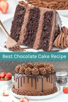 cake recipes This Chocolate Cake Recipe truly is the BEST EVER! Its a super moist chocolate cake with a rich, melt-in-your-mouth chocolate buttercream frosting. Its covered with a chocolate ganache drip. Its chocolate overload! Best Moist Chocolate Cake, Ultimate Chocolate Cake, Chocolate Ganache Cake, Amazing Chocolate Cake Recipe, Homemade Chocolate, Chocolate Desserts, Chocolate Chocolate, Chocolate Buttercream Frosting, Delicious Chocolate