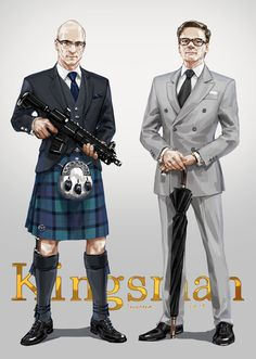 diomiota:  janemere-cg:  Kilt & SuitMerlin & GalahadGuest illustration for KiDChan's Kingsman anthology book.btw the tartan pattern is Flower of Scotland.  OMG.I saw both heaven and hell. Merlin is SUCH A CUTIE SOMEBODY SEND ME AN AMBULANCE OMG OH MY GOD