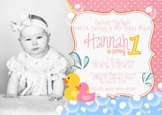 Pink rubber duck birthday invitations birthdays pink and ducks rubber ducky birthday invitation filmwisefo Image collections