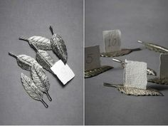 Feather table card holders from BHLDN