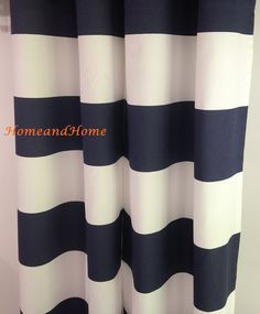 """25"""" Pair of Rod Curtains Drapery window treatment 25'' x 84"""" Cabana Horizontal Stripe Premier Navy French gray Orange Black Yellow White by HomeandHome on Etsy https://www.etsy.com/listing/215919843/25-pair-of-rod-curtains-drapery-window"""