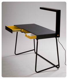 Black, White, and Yellow Desk Multifunctional Furniture, Smart Furniture, Office Furniture, Modern Furniture, Furniture Design, Design Desk, Modern Desk, Distressed Furniture, Furniture Ideas