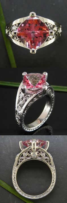 Pink topaz engagement ring with ornately fabricated filigree