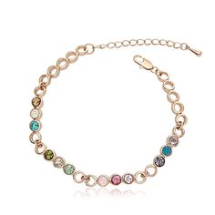 #Rosegold #Colored #CubicZirconia #Jewelry #Bracelet #LinkBracelet #Unique #Design