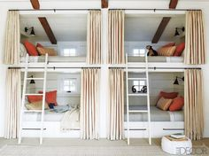 If I ever get a second home...Bunkroom with privacy curtains
