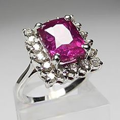 Estate Pink Sapphire & Halo Diamond Engagement Ring Solid 14K White Gold