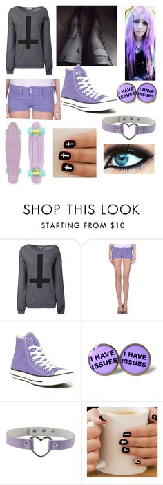 """""""pastel goth #11"""" by ironically-a-strider21 ❤ liked on Polyvore featuring Glamorous, Cellar Door, Converse and Retrò"""
