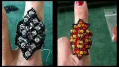 Beaded 4mm Swarovski with miyuki seedbeads ring tutorial
