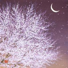 夢見月  2010年-66-野地美樹子 Japanese Art Styles, Sweet Magic, Japan Art, Nocturne, Cherry Blossom, Flower Art, Art Gallery, Illustration Art, Artist