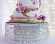 """Crystal effect waterfall design wedding cake stand - 7"""" deep by all sizes round and square"""