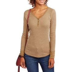 bcad81098f19a2 Faded Glory - Women s Thermal Henley - Walmart.com